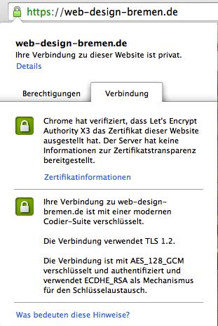 ssl-Zertifikat Informationen in der Adresszeile